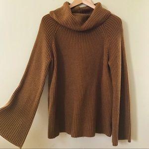Vintage Rust Bell Sleeve Turtleneck Sweater